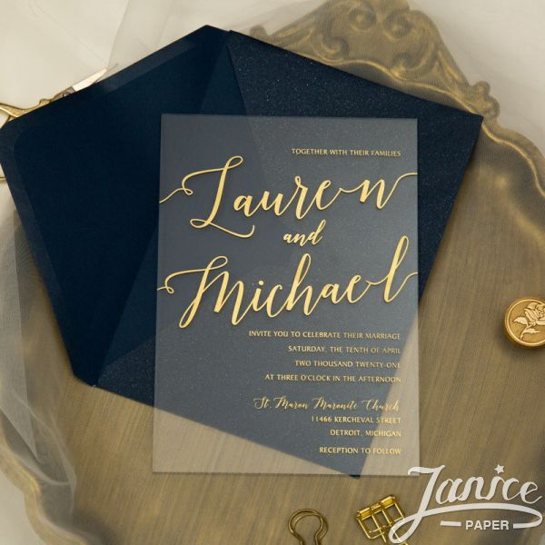 Simple Modern Clear Gold Acrylic Invitation Screen Printing ACR21