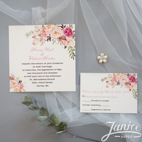 Exquisite Spring Pink Floral UV Printing Wedding Invitations CUPT01