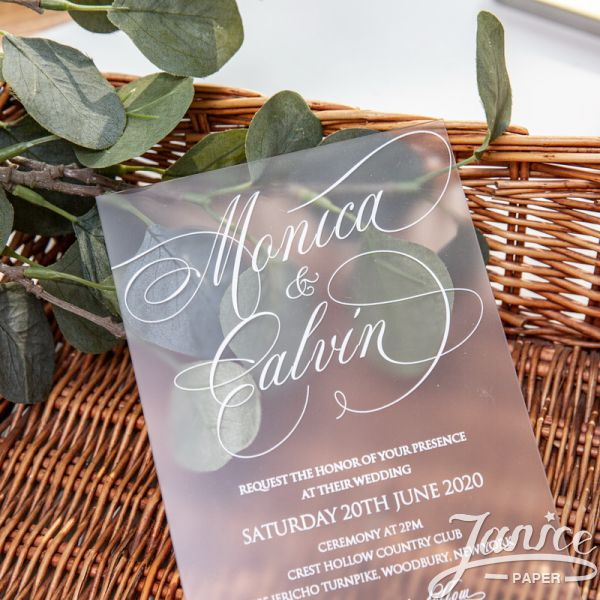 Frosted Acrylic Wedding Invitation With White UV Printing FACR01