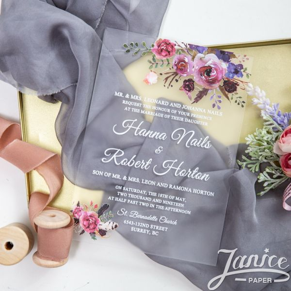 Frosted Acrylic Wedding Invitation Floral UV Printing FACR03