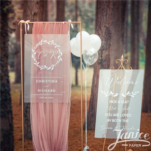 Frosted Simple White Ink Acrylic Wedding Welcome Sign FYK001
