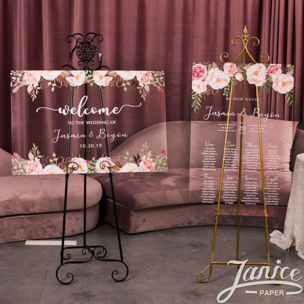 Colorful and Chic Floral Acrylic Wedding Signs Package - welcome sign & seating chart PYK004