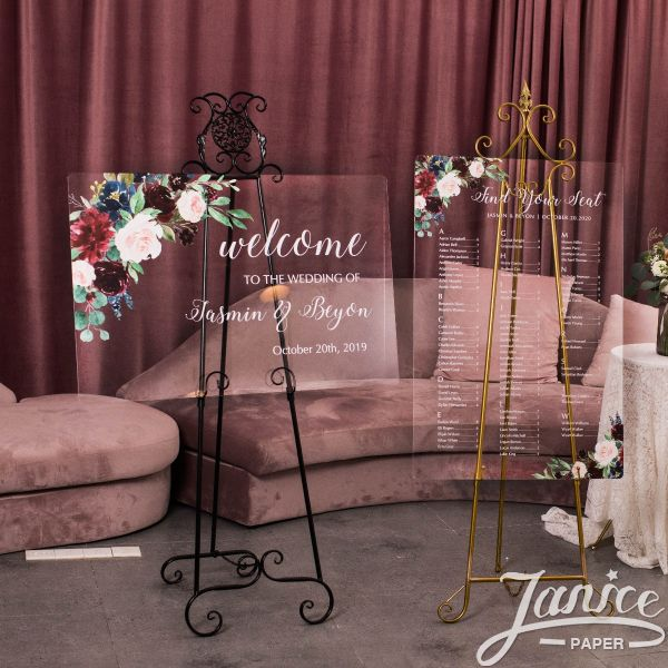 Burgundy and Blush Floral Acrylic Wedding Signs Package - welcome sign & seating chart PYK005