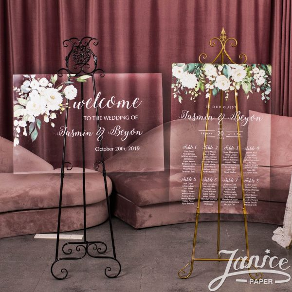 White and Green Acrylic Wedding Signs Package - welcome sign & seating chart PYK006