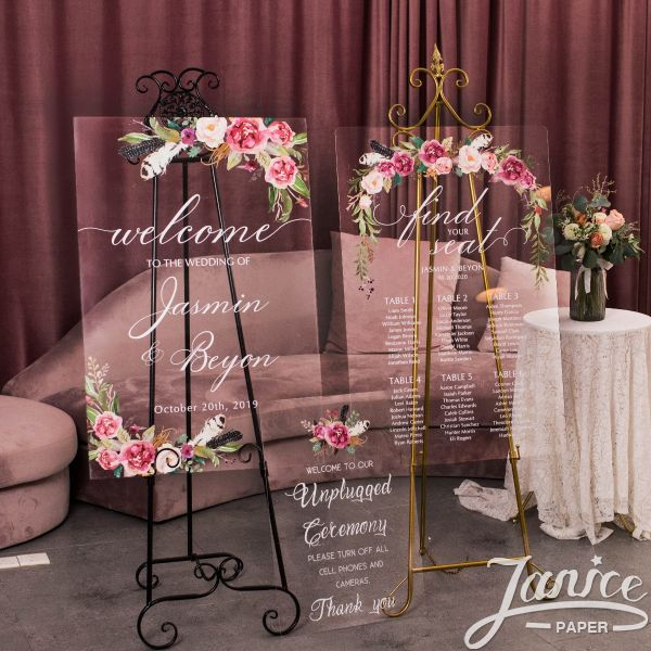Natural Rose and Feather Acrylic Wedding Welcome Signs Package - welcome sign & seating chart PYK008