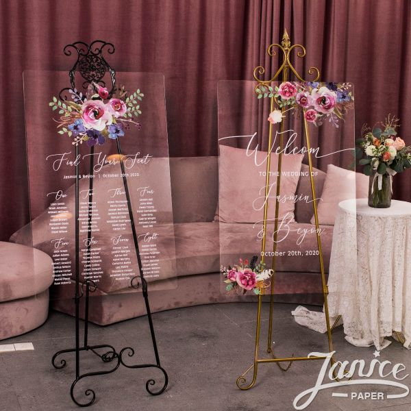 Pink & Purple Floral Acrylic Wedding Signs Package - welcome sign & seating chart PYK017