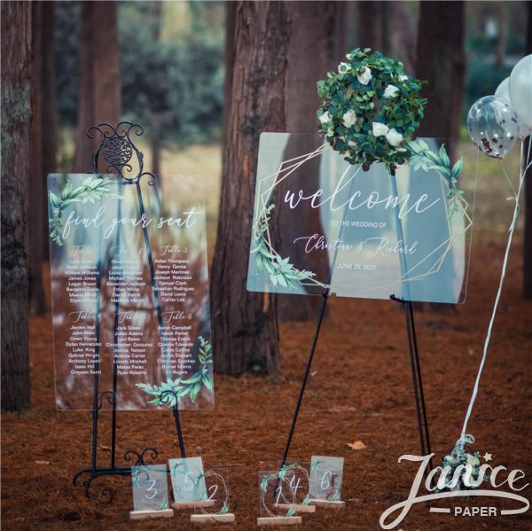 Geometric Greenery Acrylic Wedding Signs Package - welcome sign & seating chart PYK037