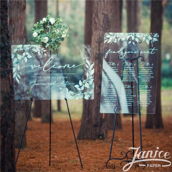 Green leaves  Acrylic Wedding Signs Package - welcome sign & seating chart PYK038