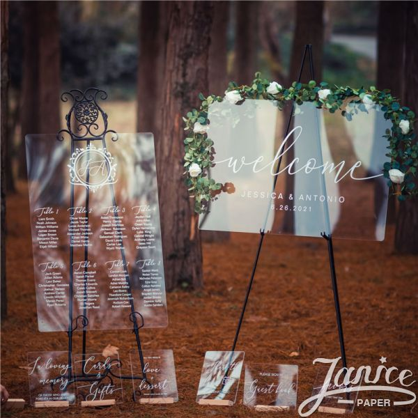 Acrylic Wedding Signs Package - welcome sign & seating chart PYK040