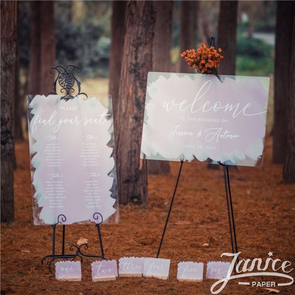 Modern Watercolor Acrylic Wedding Signs Package - welcome sign & seating chart PYK043