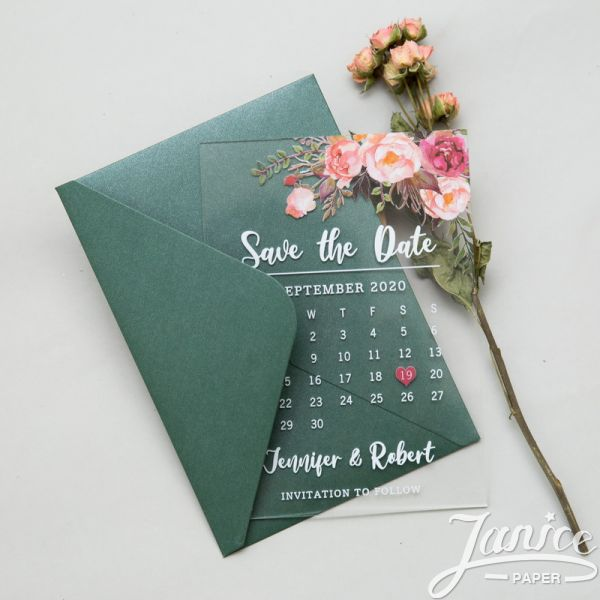 Blush Pink Floral Acrylic  Save the Date SACR01