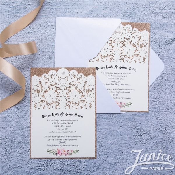 Vintage Lace Inspired Laser Cut Wedding Invitations WFL0109