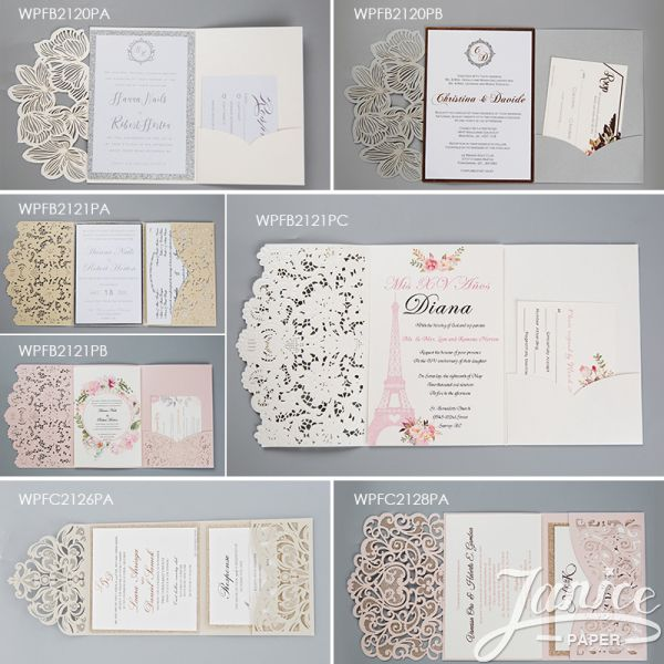 Chic Tri-fold Laser Cut Invitations with Customized Pockets WPLP0002