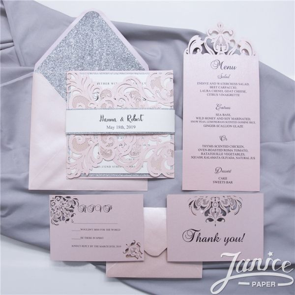 Gorgeous Lace Pocket Laser Cut Wholesale Wedding Invitation Card WPL0002 (Matching Laser Cut Cards Available)