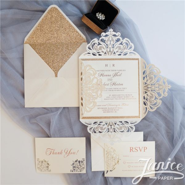 Pearl White Laser Cut Wholesale Wedding Invitation WPL0019 (Matching Laser Cut Cards Available)