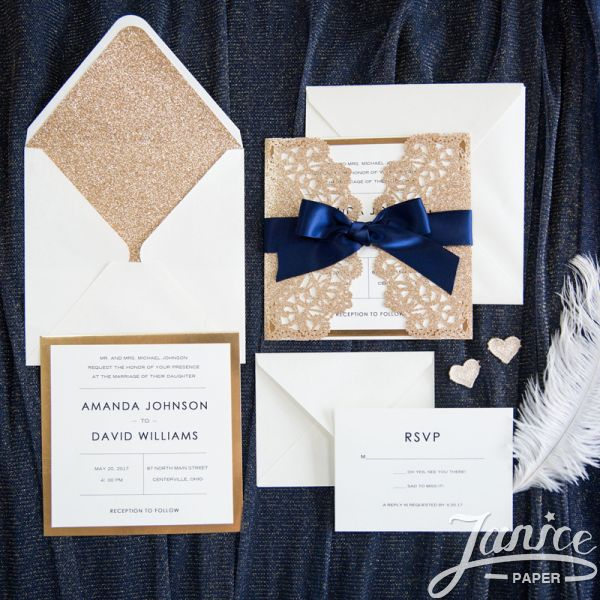 Rustic Lace Glitter Paper Laser Cut Wholesale Wedding Invitation Cards WPL0067G