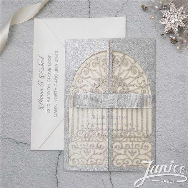 'Door To Happiness' Glitter Paper Laser Cut Wholesale Wedding Invitation Cards WPL0139G