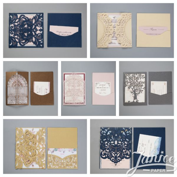 Classic Laser Cut Invitations with Additional Integrated Pockets WPLP0001