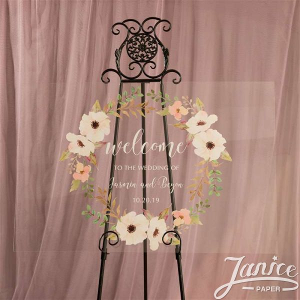 Natural Garland Clear Acrylic Wedding Welcome Sign YK001