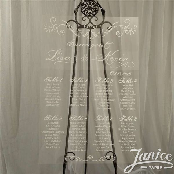 Modern and Clean Single Color Acrylic Wedding Seating Chart Sign YK003
