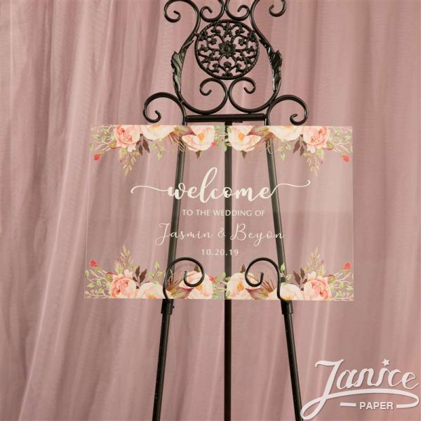 Colorful and Chic Floral Acrylic Wedding Welcome Sign YK004