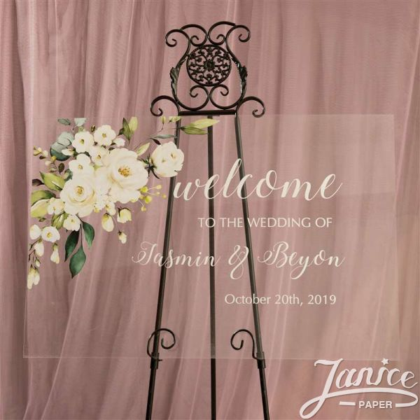 Rural White and Green Acrylic Wedding Welcome Signs YK006