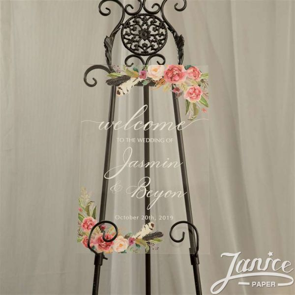 Natural Rose and Feather Acrylic Wedding Welcome Signs YK008