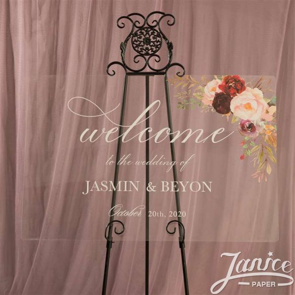 Rustic Burgundy and Blush Pink Acrylic Wedding Welcome Signs YK013