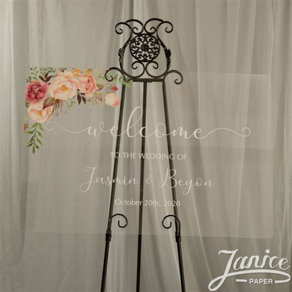 Rural Blush Pink and Rose Acrylic Wedding Welcome Signs YK014
