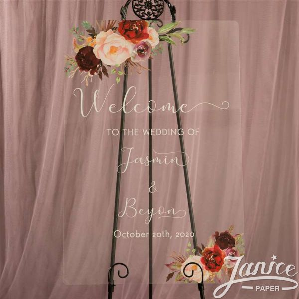 Rustic Burgundy and Blush Pink Acrylic Wedding Welcome Signs YK016