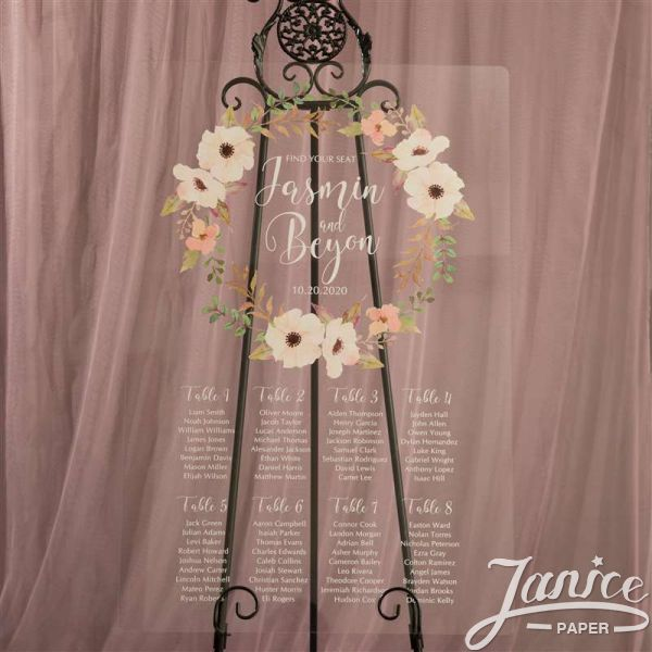 Floral Garland Colorful Acrylic Wedding Seating Chart Sign YK019