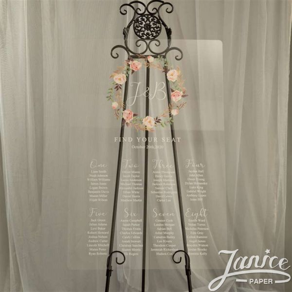 Chic and Colorful Floral Acrylic Wedding Seating Chart Sign YK020