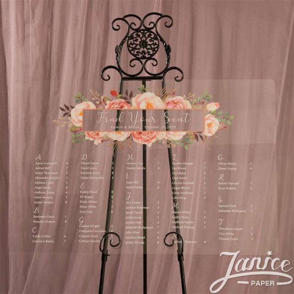Colorful and Chic Floral Acrylic Wedding Seating Chart Sign YK021
