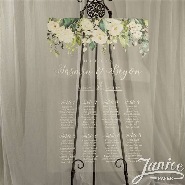Rural White and Green Acrylic Wedding Seating Chart Sign YK023