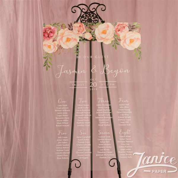 Colorful and Chic Floral Acrylic Wedding Seating Chart Sign YK029