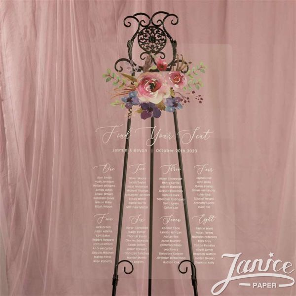 Natural Pink and Purple Floral Acrylic Wedding Seating Chart Sign YK030