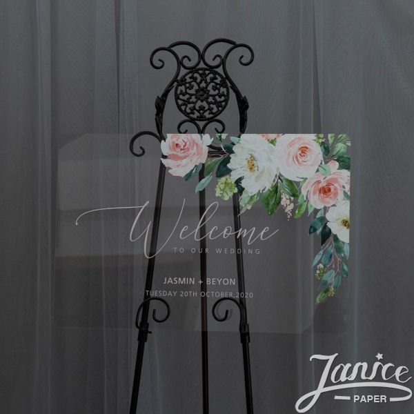 Ethereal Blush Florals Acrylic Wedding Welcome Signs YK033