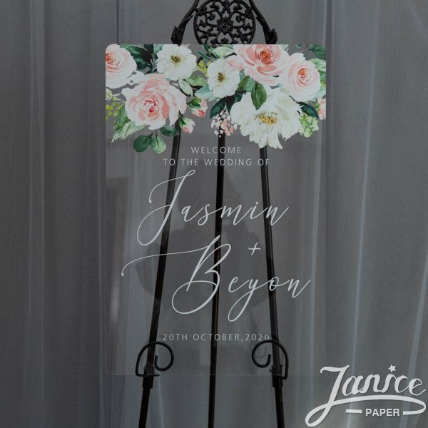 Ethereal Blush Florals Acrylic Wedding Welcome Signs YK034