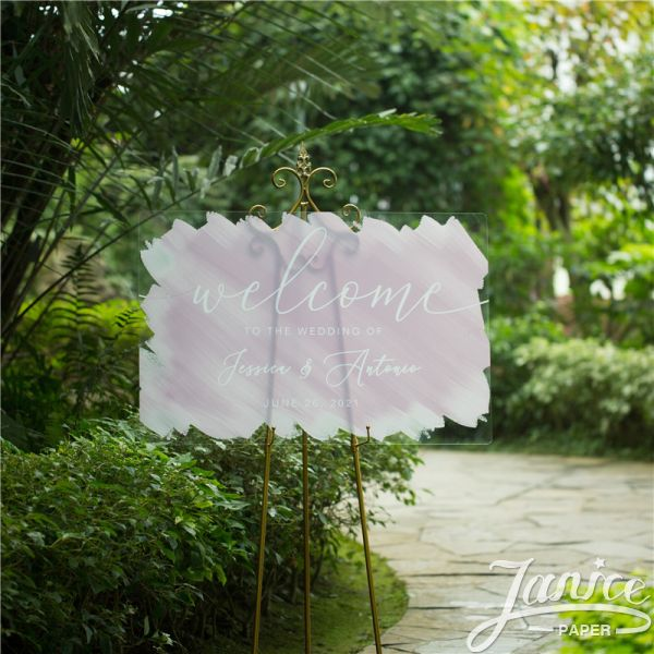 Modern Watercolor Painting Acrylic Wedding Welcome Signs YK043