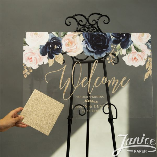 Rose Gold Glitter Ink Navy Floral Acrylic Wedding Welcome Signs YK046