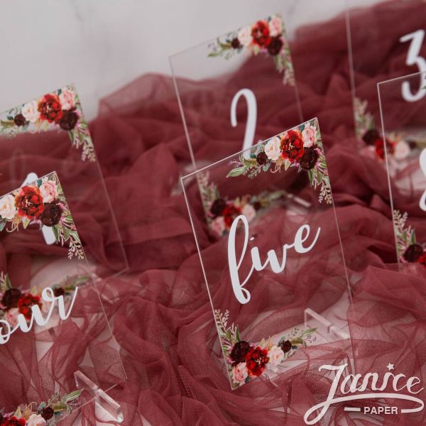 Rustic Burgundy and Blush Pink Acrylic Table Numbers YKT001