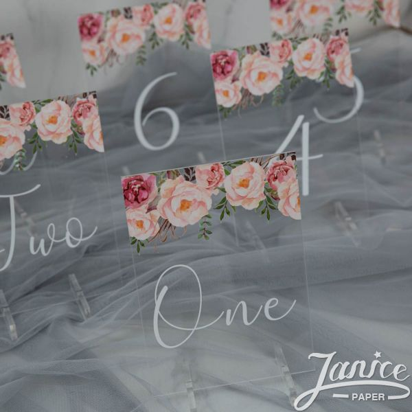 Colorful and Chic Floral Acrylic Table Numbers YKT002