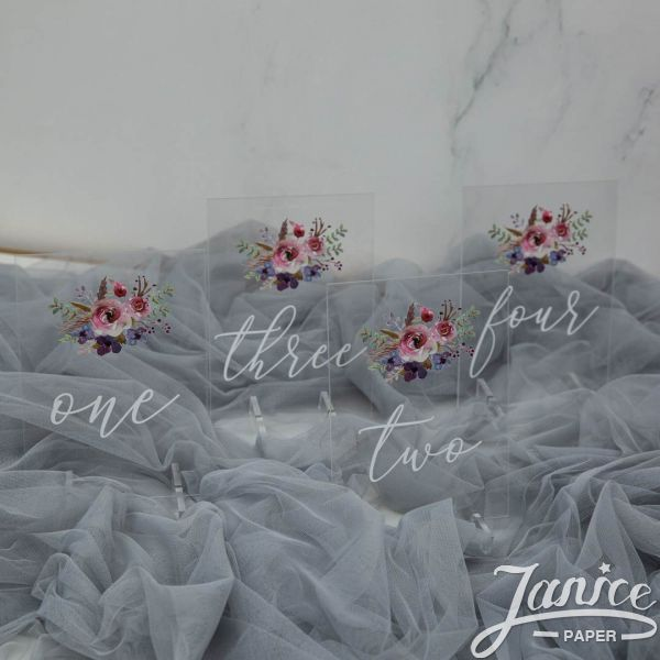 Natural Pink and Purple Floral Acrylic Table Numbers YKT003