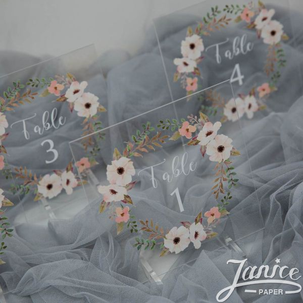 Floral Garland Colorful Acrylic Table Numbers YKT004