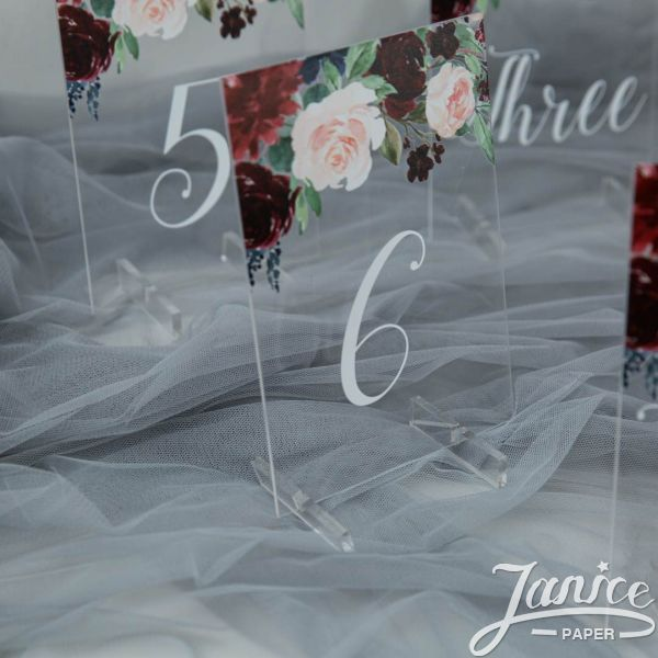 Burgundy and Blush Pink Acrylic Table Numbers YKT005