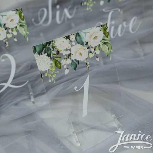 Rural White and Green Pink Acrylic Table Numbers YKT006