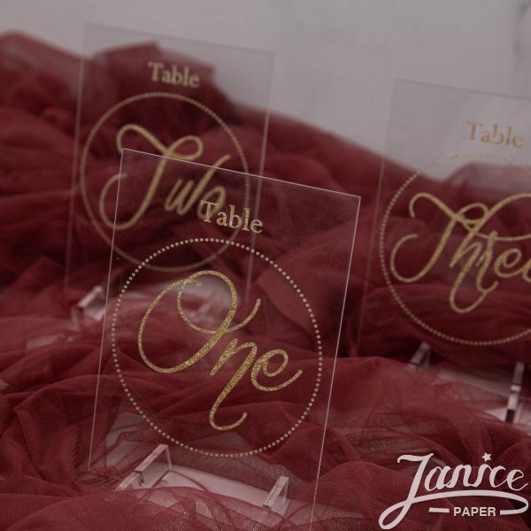 Gold Ink Modern Acrylic Table Numbers YKT008