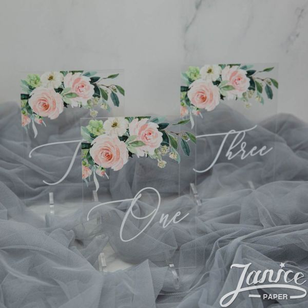 Ethereal Blush Florals Acrylic Table Numbers YKT009