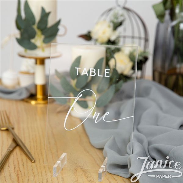 Simple White Ink Acrylic Table Numbers YKT010