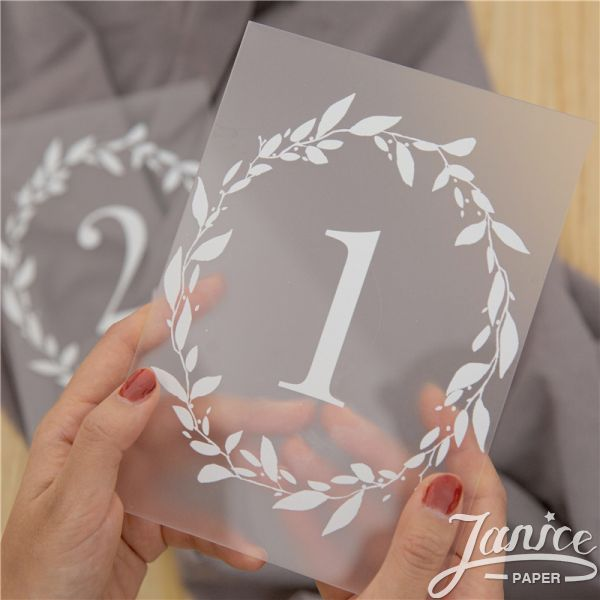 Frosted Simple White Ink Acrylic Table Numbers YKT014